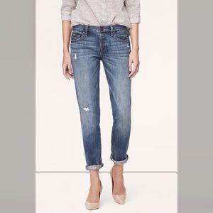 Loft distressed button fly boyfriend jeans 26/2